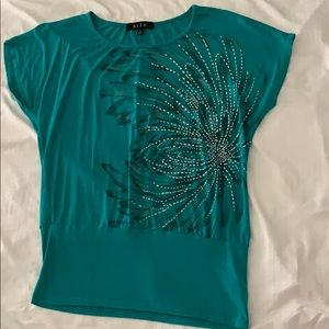 Soft teal top w/painted flower design